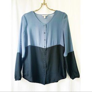 Banana Republic sheer colour block blouse